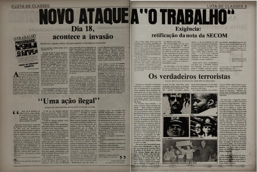 Registro da Invasão a O Trabalho em 1980 - Arquivo da redação