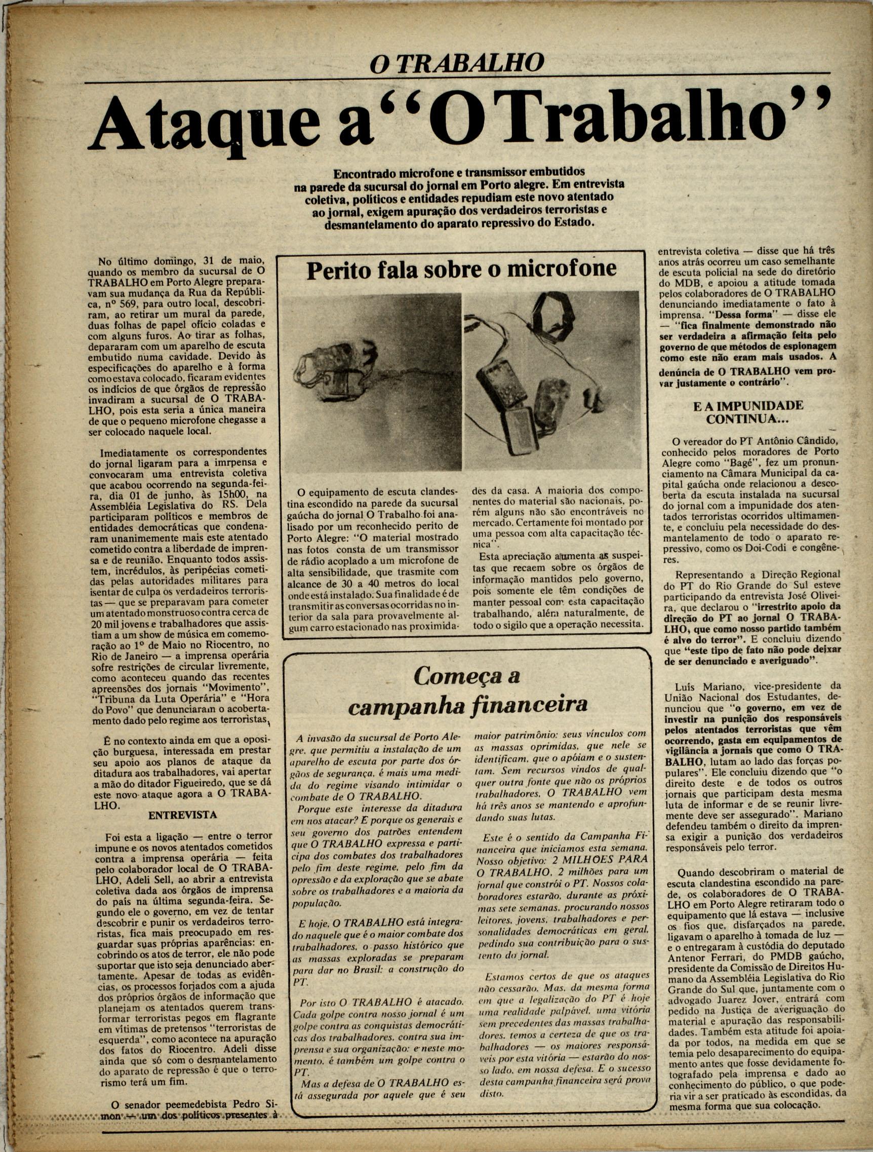 Ataque a O Trabalho denunciado em suas páginas - edição 108 (arquivo da redação)