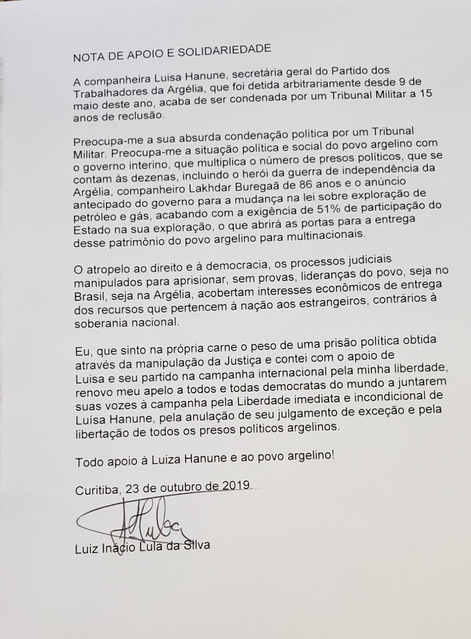 Carta Lula Luísa
